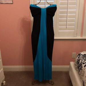 Turquoise & Black Sweetheart Strapless Dress L